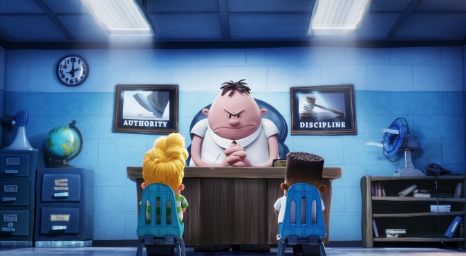 (L–R) Harold (voiced by Thomas Middleditch), Mr. Krupp (voiced by Ed Helms) and George (voiced by Kevin Hart) in DreamWorks Animation's