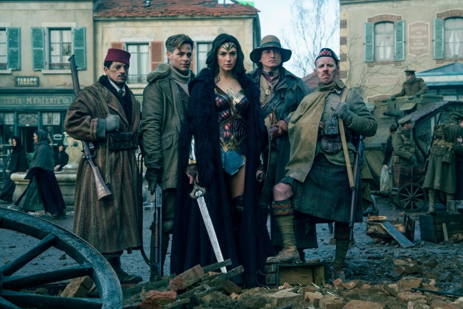 "(L-R) Saïd Tagmaoui as Sameer, Chris Pine as Steve Trevor, Gal Gadot as Diana, Eugene Brave Rock as The Chief and Ewen Bremner as Charlie in the action adventure ""Wonder Woman."" (Clay Enos/TM & DC Comics)"