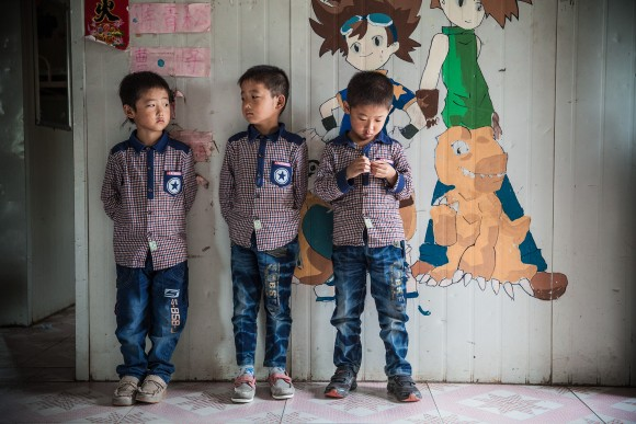 Triplets now living at Sun Valley, a home for children whose parents are serving prison terms. (Good Company Pictures)