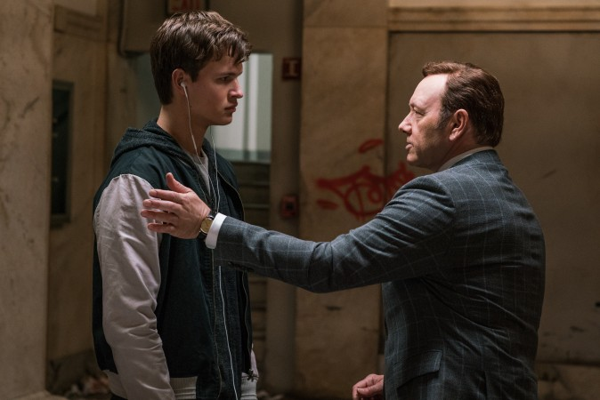 (L–R) Doc (Kevin Spacey) and Baby (Ansel Elgort). Doc tells Baby he has another job for him in TriStar Pictures'