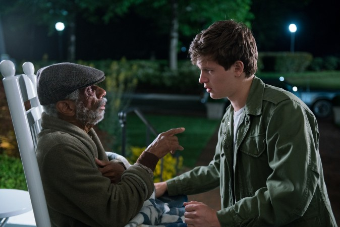 (L–R) Joseph (CJ Jones) and Baby (Ansel Elgort). Baby leaves his step-dad, Joseph, at the retirement home as the cops close in on him in TriStar Pictures'