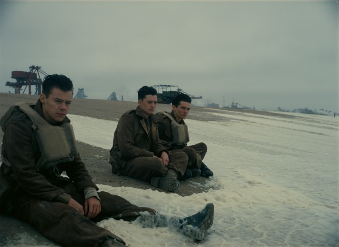 "(L–R) Harry Styles as Alex, Aneurin Barnard as Gibson and Fionn Whitehead as Tommy in the Warner Bros. Pictures action thriller ""Dunkirk,"