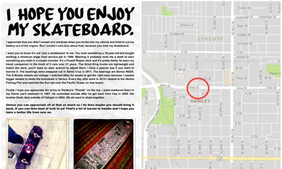 Man Posts Touching Note for Thief of Prized Skateboard