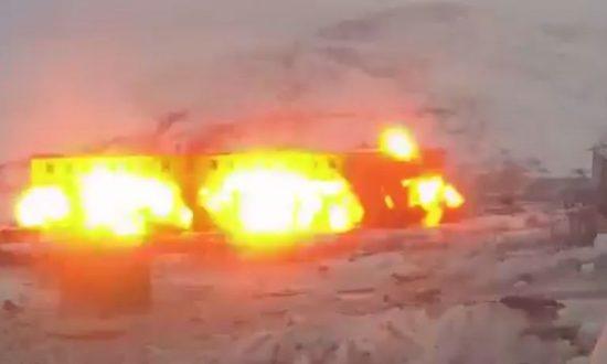 Russian Military Destroys 'Ghost Garrison' in Bomb Blast Video