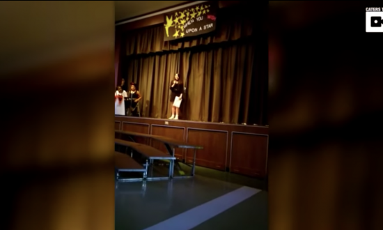 Girl performs song at talent show. But what she says after she's done—crowd can't help but react