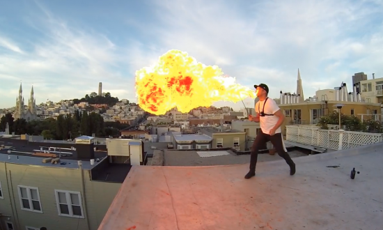 Man decides to try out his fire breathing skills, but wait till you see the first person view