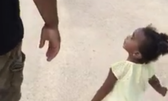 Adorable little girl argues with her dad about counting